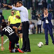 Bursaspor's coach Senol Gunes (R) during the Turkish soccer super league match Bursaspor between Besiktas at the Ataturk Stadium in Bursa Turkey on Monday, 22 September 2014. Photo by TURKPIX