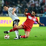 Turkey's Selcuk INAN (R) and Austria's Julian BAUMGARTLINGER (L) during their UEFA EURO 2012 Qualifying round Group A soccer match Turkey betwen Austria at Sukru Saracoglu stadium in Istanbul March 29, 2011. Photo by TURKPIX