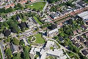 Nederland, Groningen, Hoogezand-Sappemeer, 27-08-2013;<br /> Willibrordkerk in Sappemeer in een groene woonwijk met zorgcentrum.<br /> The village of Hoogezand-Sappemeer in the north of the Netherlands.<br /> luchtfoto (toeslag op standaard tarieven);<br /> aerial photo (additional fee required);<br /> copyright foto/photo Siebe Swart.