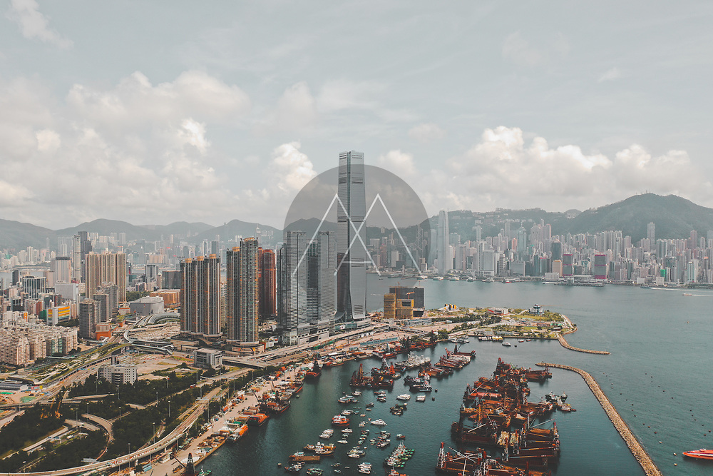 Aerial view of Hong Kong's skyline with International Commerce Centre, Hong Kong.