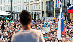 Fans during reception of slovenian rider Primoz Roglic after Tour de France 2018 on August 6, 2018 in Ljubljana, Slovenia. Photo by Urban Meglic / Sportida