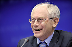 Herman Van Rompuy, Belgium's prime minister, and the first president of Europe, smiles during the press conference following the European Union Summit at the EU headquarters in Brussels, Belgium, on Thursday, Nov. 19, 2009. European leaders set divisions aside today as they chose their first-ever European Union president to represent the 27-nation bloc on the world stage. (Photo © Jock Fistick)