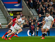 Twickenham, England, 7th March 2020,  Tom CURREY, with the ball looking to break out, during the Guinness Six Nations, International Rugby, England vs Wales, RFU Stadium, United Kingdom, [Mandatory Credit; Peter SPURRIER/Intersport Images]