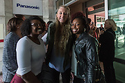 April 1, 2016; Indianapolis, Ind.; Christina Davis, Alysha Devine and Keiahnna Engel pose for a photo at the Women's Final Four Salute at the Indianapolis Motor Speedway.