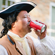 A docent at the Charlotte History Museum takes a quick break during a summer open house.