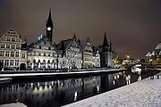 Ghent, Belgium, Nov 23, 2008, First snow at the Graslei. PHOTO © Christophe VANDER EECKEN
