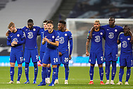 Chelsea defender Cesar Azpilicueta (28) urges on the team during the penalty shoot out during the EFL Cup Fourth Round match between Tottenham Hotspur and Chelsea at Tottenham Hotspur Stadium, London, United Kingdom on 29 September 2020.