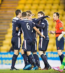 Falkirk's players cele Blair Alston's goal.<br /> Livingston 0 v 1 Falkirk, Scottish Championship played13/12/2014 at The Energy Assets Arena.
