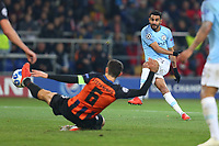 KHARKOV, UKRAINE - OCTOBER 23: Riyad Mahrez of Manchester City in action during the Group F match of the UEFA Champions League between FC Shakhtar Donetsk and Manchester City at Metalist Stadium on October 23, 2018 in Kharkov, Ukraine. (Photo by MB Media/Getty Images)