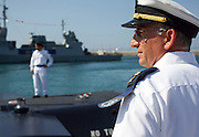 Aluf Ram Rothberg head of the Israel Navy at the arrival of the new Israeli Navy INS Tannin (Dolphin class) submarine from Germany in Haifa on September 23 2014