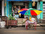 03 NOVEMBER 2014 - YANGON, MYANMAR: A snack stand on 38th Street in Yangon, Myanmar.     PHOTO BY JACK KURTZ