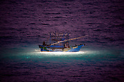 A fishing boat uses bright lights and nets to catch shrimp at night near the port of Longdong, on Taiwan's northeast coast. (From the book What I Eat: Around the World in 80 Diets.) Just south of Longdong, the fish market at Daxi harbor has both a wholesale and a retail market.