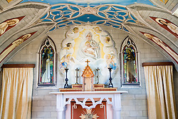Interior of an Italian chapel on Orkney; Scotland,  Decorated by prisoners of war,