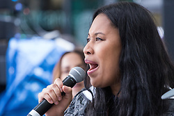 """City Hall, London, March 5th 2017. Stars join March4Women through London. Mayor of London Sadiq Khan and suffragette descendents prepare to march and """"sing for a fairer world ahead of International Women's Day"""". Attended by Annie Lennox, Emeli Sande, Helen Pankhurst, Bianca Jagger and with musical performances from Emeli Sande, Melanie C and more. PICTURED: VV Brown"""