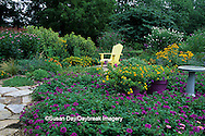 63821-14213 Flower garden with bird bath, Yellow Adirondack chair, perennials & annuals  Marion Co. IL