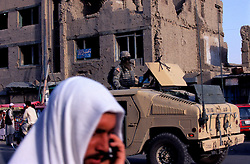 Afghanistan, 24 July 2005.American soldiers patrolling the streets of Kabul.