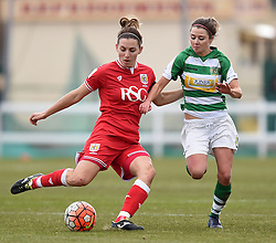 Grace McCatty defender for Bristol City Women competes against Sarah Wiltshire of Yeovil Town Ladies - Mandatory by-line: Paul Knight/JMP - Mobile: 07966 386802 - 28/02/2016 -  FOOTBALL - Stoke Gifford Stadium - Bristol, England -  Bristol City Women v Yeovil Town Ladies - FA Cup fourth round