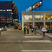 Car and pedestrian traffic at 20th and Main Streets, Kansas City, Missouri