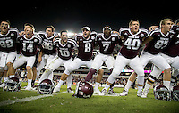 Texas A&M's Trevor Knight (8) sways along with teammates during the singing of the Aggie War Hymn after a 52-10 win over New Mexico State after in an NCAA college football game Saturday, Oct. 29, 2016, in College Station, Texas. (AP Photo/Sam Craft)