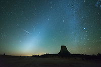 At 2:30AM my alarm went off after catching a few hours of sleep. The moon was about to set, leaving me with 3 hours of darkness to watch the Orionid meteor shower over Devils Tower. My camera captured this bright streak of light shortly before twilight began. But the fact that it appeared in 2 frames and lacks any colors suggests that it was a satellite flare and not a meteor. The diffuse glow rising up diagonally from the horizon is called the zodiacal light. Also known as false dawn, the glow is caused by the sun illuminating the dust which is shed by comets and asteroids in the inner solar system. This cone-shaped glow is projected against the constellations of the zodiac, which is the path that the sun, moon, and planets travel through the sky. I've seen the zodiacal light before, but never this bright and prominent. It can only be viewed from the darkest of locations, far away from light pollution, on very clear moonless nights.