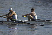 Hazenwinkel, BELGIUM,  Men's Pair, [ M2-],  Bow: Louis BEECH and Mohamed SBIHI,, in the last strokes of the morning time trial, at the GB Rowing Senior Trials, on Sun,15.04.2007  [Credit, Peter Spurrier/Intersport-images]   [Mandatory Credit, Peter Spurier/ Intersport Images]. , Rowing Course, Bloso, Hazewinkel. BELGUIM