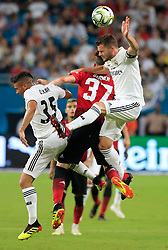 July 31, 2018 - Miami Gardens, FL, USA - Real Madrid defender Nacho Fernandez (6) heads the ball as he battles Manchester United James Garner (37) in the second half during International Champions Cup action at Hard Rock Stadium in Miami Gardens, Fla., on Tuesday, July 31, 2018. Manchester United won, 2-1. (Credit Image: © Al Diaz/TNS via ZUMA Wire)