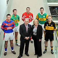 Pictured at the launch of  the 2008/2009 AIB GAA Club Championships are Nickey Brennan, President of the GAA and Brenda Moriarty, Head of Brand Management, AIB Bank, with players, from left, Kieran Murphy, Erin's Own, Cork; Ciaran McGann, Castlelyons, Cork; Michael Walsh, Stradbally, Waterford; Brendan Cummins, Ballybacon Grange, Tipperary and Colm Cooper, Dr. Crokes, Kerry. <br /> Brendan Moran / SPORTSFILE