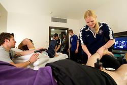 Mitja Robar and Physiotherapist Manca Marc of Slovenian National Ice Hockey team in a massage room in the hotel Holiday Inn at IIHF 2011 World Championship Slovakia, on May 4, 2011 in Bratislava, Slovakia. (Photo By Vid Ponikvar / Sportida.com)