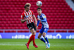 Max Power of Sunderland beats Zain Westbrooke of Bristol Rovers to a header - Mandatory by-line: Robbie Stephenson/JMP - 12/09/2020 - FOOTBALL - Stadium of Light - Sunderland, England - Sunderland v Bristol Rovers - Sky Bet League One