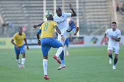 07/10/2018. Hlompho Kekana of Mamelodi Sundowns FC fights for the ball with Sfiso Hlanti of Wits University FC during their PSL match at Lucas Moripe Stadium in Atteridgeville.<br /> Picture: Oupa Mokoena/African News Agency (ANA)