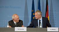 DEU, Deutschland, Germany, Berlin, 22.05.2017: Pressekonferenz von Bundesfinanzminister Dr. Wolfgang Schäuble (CDU) und dem neuen französischen Finanzminister, Bruno Le Maire.