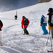 Judges watch as Steve Chiechuch and Willi Glanzing of Telluride ski themselves into 4th place.