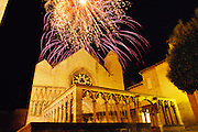 Feast day fireworks over the cathedral in Olite. Navarra, Spain.