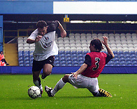 Photo. Glyn Thomas<br />Pre-Season Friendly.<br />Fulham v RCD Mallorca<br />Loftus Road, 10/08/2003<br />Steed Malbranque, who scored Fulham's second goal, avoids a tackle from Cristian Diaz.