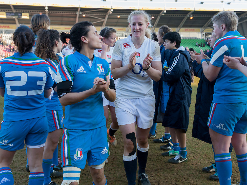 Tamara Taylor post match, England Women v Italy Women in Women's 6 Nations Match at Twickenham Stoop, Twickenham, England, on 15th February 2015. Final score 39-7.