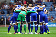 Brentford players have a team huddle prior to kick off. Skybet football league championship match, Burnley  v Brentford at Turf Moor in Burnley, Lancs on Saturday 22nd August 2015.<br /> pic by Chris Stading, Andrew Orchard sports photography.