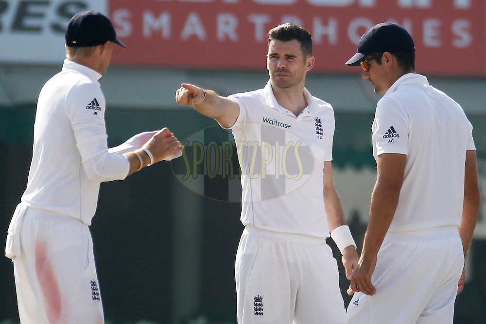 James Anderson of England talk with Alastair Cook Captain of England during day 2 of the third test match between India and England held at the Punjab Cricket Association IS Bindra Stadium, Mohali on the 27th November 2016.<br /> <br /> Photo by: Deepak Malik/ BCCI/ SPORTZPICS