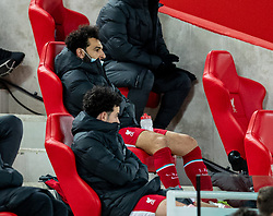 LIVERPOOL, ENGLAND - Thursday, March 4, 2021: Liverpool's Mohamed Salah sits on the bench after being substituted during the FA Premier League match between Liverpool FC and Chelsea FC at Anfield. Chelsea won 1-0 condemning Liverpool to their fifth consecutive home defeat for the first time in the club's history. (Pic by David Rawcliffe/Propaganda)