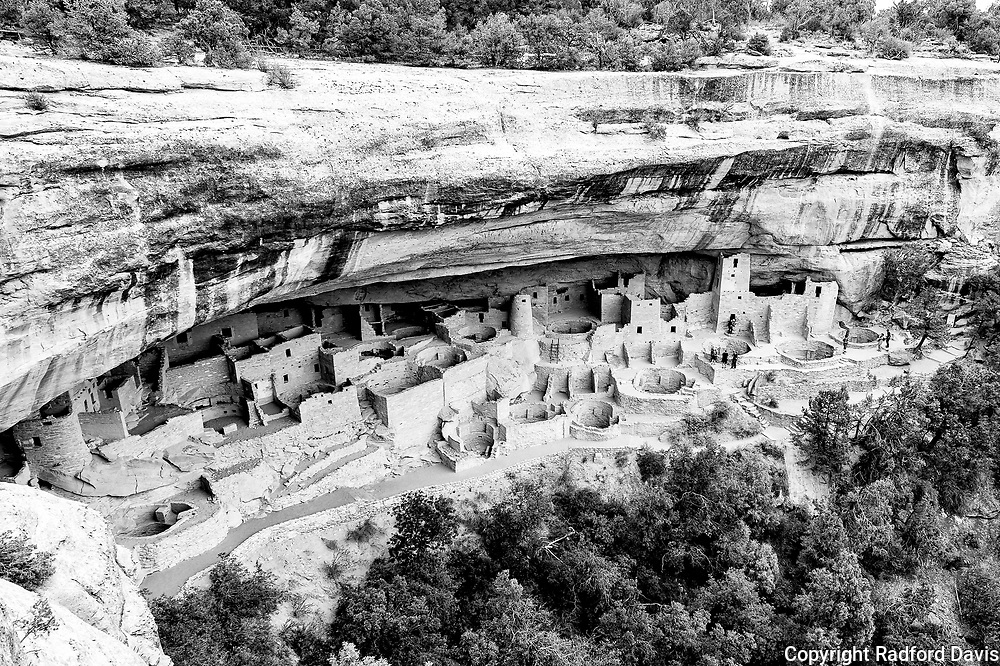 Cliff Palace, Mesa Verde National Park, Colorado. Black and white.