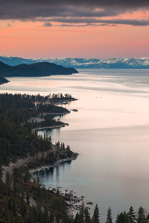 """""""Sunrise at Lake Tahoe 16"""" - Photograph of a wavy Lake Tahoe East Shore shoreline shot at sunrise. Memorial Point and Sand Harbor can be seen."""
