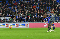 Football - 2018 / 2019 Premier League - Cardiff City vs. Leicester City<br /> <br /> Demarai Gray  of Leicester City scoring his team's first goal in Leicster's 1st match since the death of Vichai Srivaddhanaprabha, at Cardiff City Stadium.<br /> <br /> COLORSPORT/WINSTON BYNORTH