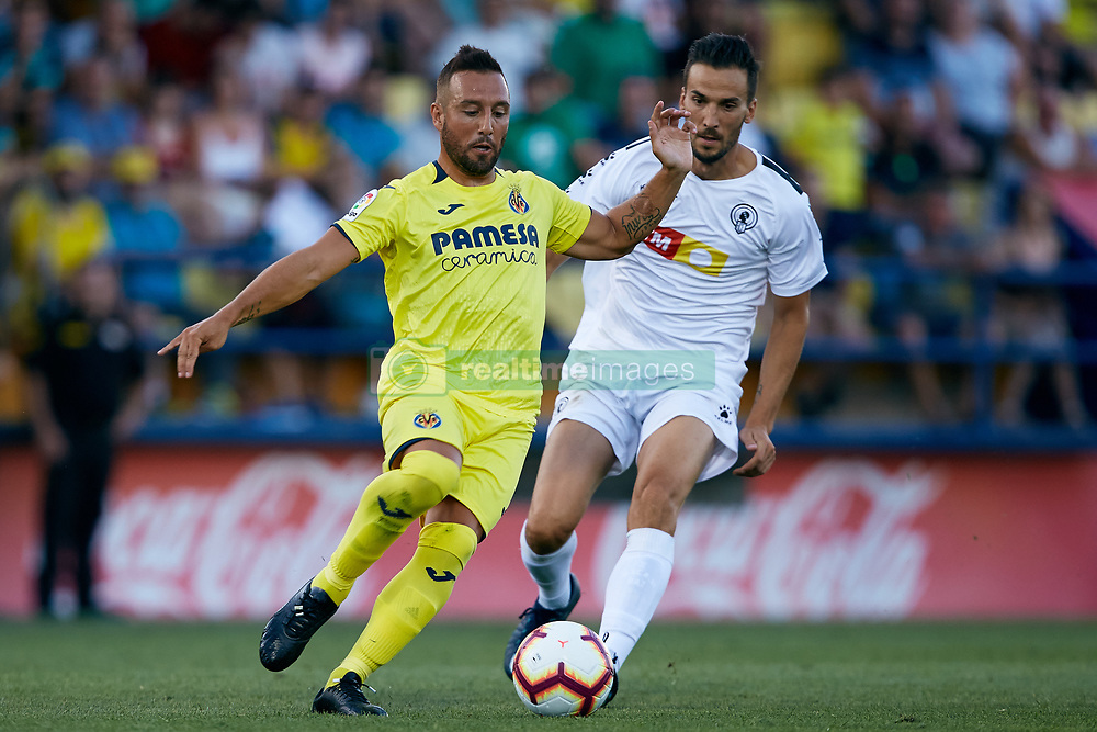 July 17, 2018 - Villareal, Castellon, Spain - Santi Cazorla (L) of Villarreal CF competes for the ball with Oscar Diaz of Hercules CF during the Pre-Season Friendly match between Villarreal CF and Hercules CF at Mini Estadi on July 17, 2018 in Vila-real, Spain  (Credit Image: © David Aliaga/NurPhoto via ZUMA Press)