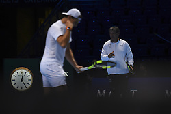 November 11, 2017 - London, United Kingdom - Rafael Nadal of Spain (L) and Toni Nadal are pictured during a training session prior to the Nitto ATP World Tour Finals at O2 Arena, London on November 10, 2017. (Credit Image: © Alberto Pezzali/NurPhoto via ZUMA Press)