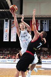 19.08.2011, Stechert Arena, Bamberg, GER, BBL, LS, Supercup 2011, Deutschland (GER) vs Belgien (BEL), im Bild:.Dirk Nowitzki (GER #14) gg Axel Hervelle (BEL #7).// during the Match GER, BBL, LS, Supercup 2011, Deutschland (GER) vs Belgien (BEL) on 2011/08/19, Stechert Arena, Bamberg, Germany..EXPA Pictures © 2011, PhotoCredit: EXPA/ nph/  Will       ****** out of GER / CRO  / BEL ******