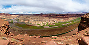 High angle view looking over the Colorado River and Hite, Utah, USA on a beautiful summer day.