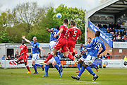 Wrexham AFC Defender, Martin Riley (5) wins a header in the box during the Vanarama National League match between Eastleigh and Wrexham FC at Arena Stadium, Eastleigh, United Kingdom on 29 April 2017. Photo by Adam Rivers.