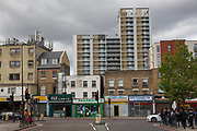 Park Heights SW9 with Brixton Road in foreground on 3rd August 2016 in London, United Kingdom. Park Heights is a new housing tower block in the London Borough of Lambeth.
