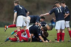 Falkirk's Blair Alston (8) celebrates with team mates after scoring their second goal..Hamilton 1 v 2 Falkirk, Scottish Cup quarter-final, Saturday, 2nd March 2013..©Michael Schofield.