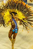Carnaval princess in the Carnaval parade of Inocentes de Belford Roxo samba school in the