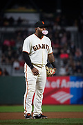 San Francisco Giants third baseman Pablo Sandoval (48) blows bubbles at third base during a MLB game against the Milwaukee Brewers at AT&T Park in San Francisco, California, on August 21, 2017. (Stan Olszewski/Special to S.F. Examiner)